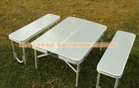 Wholesale Outdoor aluminum alloy lift fission folding tables and chairs leisure park barbecue an on board portable eat desk and chair