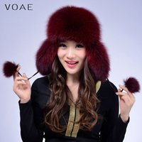 Wholesale Sheepskin Scarves - Wholesale-VOAE Women's Fashion Casual Sheepskin Leather Spliced Genuine Real Natural Blue Fox Fur Hat