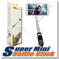 selfie monopod shutter toptan satış-YENI Katlanabilir Süper Mini Kablolu Özçekim Sopa El Uzatılabilir Monopod kablolu deklanşör Kolu cep telefonu ile ...