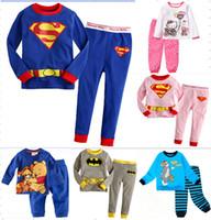 Wholesale Tom Jerry Pajamas Kids - 6 sets lot Baby Girl's Boy's Superman Hello Kitty Batman Tom & Jerry pajamas suit children cartoon pyjamas kids sleepwear homewear