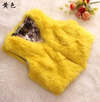 Wholesale Supper Deals - Wholesale-Supper deal 100% genuine rabbit fur vest waistcoat women sleeveless fur coat outerwear for autumn and winter free shipping