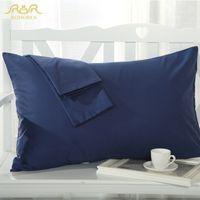 Wholesale Healthy Pillowcases - Wholesale-ROMORUS Hot Sale 100% Healthy Cotton Linen Pillow Cover Case Solid Color Pillowcase Navy Blue Purple Pink Sleep Pillow Covers