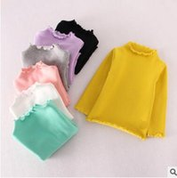 Wholesale turtleneck long sleeve shirt girl - Spring Fall Kids Undershirt Clothes Baby Girls Solid Color Long Sleeve Turtleneck Cotton T-shirt Kids Spring Clothes Top Quality