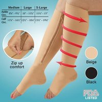 Wholesale Toe Shaper Socks - 2015 CoZip Sox Zip-Up Zippered Compression Knee Socks Supports Stockings Leg Open Toe Hot Shaper Black and Beige 500Pairs