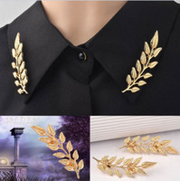 Wholesale Ear Pins Wedding - 2015 New Fashion Women Collar Brooches Jewelry golden plated Alloy ears wheat leaves retro shirt men women collar brooch pin collar Jewelry