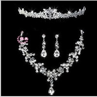 Wholesale Red Bridal Bridesmaids Jewelry - New arrival Luxury Eye Catching Shining Bling Crystals 2015 Wedding Party Bridal Bridesmaid Tiara Crown Necklace And Earrings Jewelry Set ZY