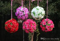 """Wholesale Party Suppl - HoT Selling 13.5 CM 6"""" Artificial Encryption Rose Silk Flower Kissing Balls Hanging Ball Christmas Ornaments Wedding Party Decorations Suppl"""