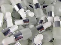 pots d'huiles essentielles achat en gros de-50pcs / lot 1 ml 2 ml 3 ml 5 ml parfum huiles essentielles bouteilles de bouteilles de compte-gouttes en verre dépoli verre flacons avec pipette pour cosmétique