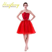 Wholesale Dreeses Lace - 2018 Cocktail Dresses Oraganza Backless Lace up Strapless Prom Dreeses Knee Length Handmade Flowers Homecoming Dresses Custom Made