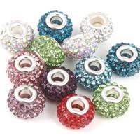 Wholesale Mixed Large Pendants - 10 colors mix DIY Bracelets pendant for pandora Bracelets With 5 rows of large hole acrylic crystal large beads