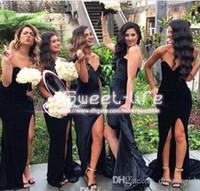 Wholesale Dark Blue Velvet Bridesmaid Dresses - Sexy Split 2017 Mermaid Bridesmaid Dresses Sweetheart Sleeveless Zipper Empire Velvet Sweep Train Custom Made Dresses For Wedding Party Gow