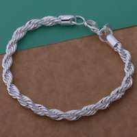 Wholesale rope chain 925 4mm for sale - Group buy with tracking number Top Sale Silver Bracelet MM hemp rope Bracelet Silver Jewelry cheap