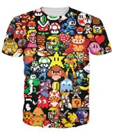 Wholesale Pikachu T Shirt Women - Arcade Collage T-Shirt Pikachu Kirby Mario Chocobo arcade style Cartoon Character t shirt Women Men Summer Style sport tops tee