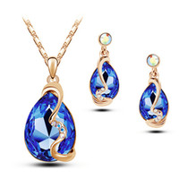 Wholesale Crystal Piece For Gifts - Luxury Bridal Earrings and Necklace Sets for Women Crystal Stud Earrings Sets Fashion Two Pieces Prom Jewelry 5433