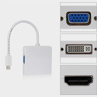 Wholesale Vga Dvi Dp - Mini DP DisplayPort (3 in 1) to HDMI DVI VGA Adapter Cable Cables Adapters Free Shipping