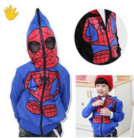 Wholesale Coated Cotton Fabric Wholesale - New Children's outwear jacket kids Spiderman coat Jacket Looped fabric Sweater Size 90-130CM B001