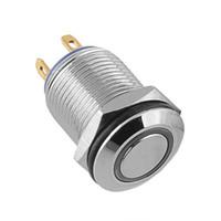 interruptores led iluminados al por mayor-12mm 2A / 36V LED azul iluminado anillo interruptor pulsador plano DIY envío gratis, dandys