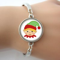 Wholesale Cute Kids Bracelets - Christmas Design Elf Picture Glass Cabochon Dome Alloy Charm Bangle Bracelet,Cute Gifts For Kids,Children,Xmax Gifts New Design