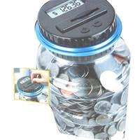 elektronik ekran lcd toptan satış-Yeni Yaratıcı Dijital Para Kutusu Elektronik USD Coin Sayaç Kumbara Para Tasarrufu Kavanoz Hediye Ile LCD Ekran Ücretsiz Kargo