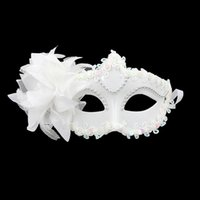 Classic Flower White Princess Masque Halloween Venetian Brillant Bauta Masque Demi-Face Party Dance Décoration Masquerade Fournitures 20pcs / lot SD394