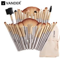 Wholesale Champagne Hair - Vander Professional Soft Champagne 32pcs Makeup Brushes Set Beauty Cosmetic Real Make Up Tools Eyeshadow Blush Blending W  Bag