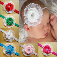 Wholesale Rose Hair Colour - Infant Baby Hair Accessories Rose Flower Combination Girls Hair Band Kids Headband Babies Toddler Head Band Mix Colour
