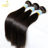 Wholesale 26 Straight Hair Weave - Peruvian Indian Malaysian Mongolian Cambodian Brazilian Virgin Straight Hair Weave Bundles Cheap Remy Human Hair Extensions Natural Color 1B