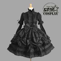 Wholesale Women Victorian Halloween Costumes - Wholesale-Cinderella Princess Cotton Dress Halloween Victorian Gothic Lolita Dress Girl Cosplay Lolita Costume Women Layered Maid Dress