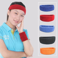Wholesale Sports Cloth Headbands Wholesale - 17*5cm Cotton Towel Cloth Sports Sweatband Yoga Hair Bands Fashion Head Sweat Bands Headband Sports Safety