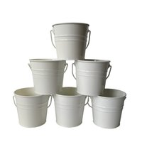 Wholesale mini whites tin pails for sale - Group buy D10 H9 CM Mini Small Rustic Metal garden pail bucket tin box Iron pots Cream color