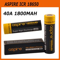 Wholesale Icr Batteries - Original Aspire ICR 18650 Battery Protected 40A Li-ion 1800mah 2600mah cf vv battery Fit Smok Gx350 Alien Al85 Box Mod 100% Genuine 2210044