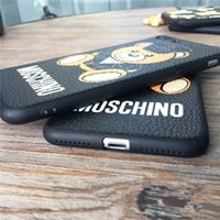 Wholesale ground covering - Fashion Suit Bear Cellphone Case TPU Grind Arenaceous Coloured Drawing Back Cover Case for IPhone X & Iphone 6 6plus 7 8 7 8plus