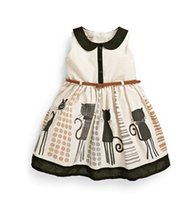 Wholesale Dresses Girl Autum - Europe Style Children Girls Sleeveless Printing Pure Cotton Dresses Kids Summer Autum Fashion Clothing Child Casual Skirts With Belt L0844
