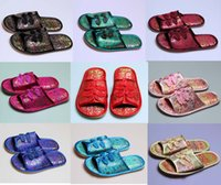 Wholesale Winter Slippers For Men - Vintage Home Slipper Chinese knot Silk Printed Personalized Slippers For Women and man Soft Indoor Slippers
