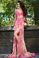 Wholesale Sexy Sweet Heart Line Dress - Sexy Front Slit Evening Dresses Sweet Heart open Back Sleeveless 2015 Pink Applique Sweep Long Prom Party Gowns Special Occasion Dress WWL