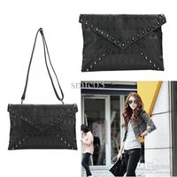 Wholesale Skull Spike Punk - Wholesale-Punk Skull Spike Envelope Woman Lady Leather Clutch Handbag Bag Black free Shipping