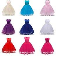 Wholesale Lace Kids Bridesmaid Dresses - Flower Girls Dresses Children Princess Pageant Formal Wedding Dress Party Kids Clothes Girls Long Dress Bridesmaid Ball Gown