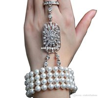 Wholesale Cheap Body Jewerly - Cheap Real Image Hot New wedding jewelry The Great Gatsby Bridal Bridesmaid Hand Bracelet Crystal pearl Bracelet Set Bridal Jewelry CPA238