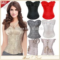 Wholesale Lace Tops Xl - Corselet Plus Size Sexy Women Corsets And Bustiers Four Colors Renaissance Satin Lacing Corset Top Blusas New 5Colors Women S-6XL