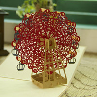 Wholesale Vintage Birthday Greeting Cards - Vintage Happy Birthday Sky Wheel Handmade Creative Kirigami & Origami 3D Pop UP Greeting & Gift Cards Free Shipping