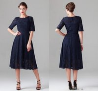 Wholesale Evening Gown Bridesmaid Knee Length - Navy Blue Tea-length Lace Mother of the Bride Dresses Vintage Half Long Sleeve Beach Bridesmaid Bridal Party Evening Gowns 2016 Cheap Spring