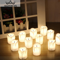 Wholesale wholesale white candle boxes - 12pcs  Box Warm White Flameless Led Electric Battery Powered Tealight Candles Holiday  Wedding Decoration Big Votive Candles
