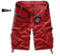 Wholesale Cargo Pants Capris Men - 2015 new summer casual shorts men's pants men's shorts pants Cargo Pants Loose straight Multi-pocket Shorts red 693