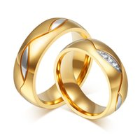 Atacado- His Hers Lovers Casamento Anéis de noivado Gold-Color CZ Couple Ring Band Mulheres Homens Stainless Steel alianca Fashion Jewelry