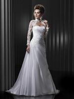 Wholesale Model Bolero Wedding Gown - Wedding Dresses with Bolero Strapless Brush Train Ruffled Organza Long Sleeve Jacket Beach Garden A-Line Wedding Gowns with Beaded Appliques