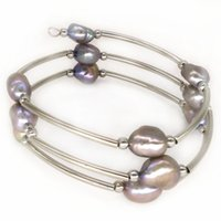 Wholesale Silver Plated Memory Wire - 7.5-8 inches 8-9mm Silver Natural Baroque Pearl Women Memory Wire Bracelet