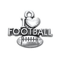 Wholesale Sports Necklace For Free - Free shipping New Fashion Easy to diy 30pcs i love football hot selling sports charm jewelry making fit for necklace or bracelet