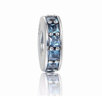 Wholesale Crystal Cross For Jewelry Making - Eternity Blue Crystal Spacer Beads For Jewelry Making Fit pandora Charms Silver 925 Original Bracelets for Women DIY Jewelry