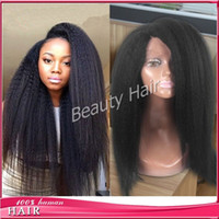 Wholesale Yaki Human Synthetic Mix Hair - 2016 italian yaki full lace wig lace front human hair wigs glueless silk base with baby hair for balck women