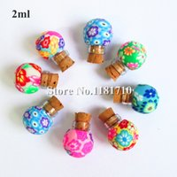 Wholesale Necklaces Glass Factory - Wholesale glass polymer clay bottle with cork,1.5ml small essential oil bottle necklace pendant bottle Factory Price
